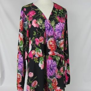 City Chic Black Chelsea Show Floral Wrap Blouse 20